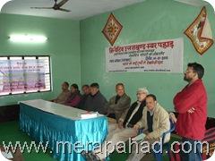 Charu Tewari Speaking at Poster Launch during Uttrayani at Bageshwar, Uttarakhand